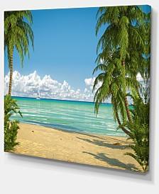 "Designart Palms At Caribbean Beach Seashore Photo Canvas Art Print - 40"" X 30"""