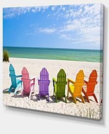 "Designart Adirondack Beach Chairs Seashore Photo Canvas Art Print - 40"" X 30"""