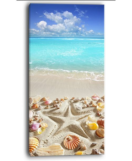 "Design Art Designart Caribbean Sea Starfish Beach And Shore Canvas Art Print - 16"" X 32"""