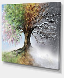 "Designart Tree With Four Seasons Tree Painting Canvas Art Print - 20"" X 12"""