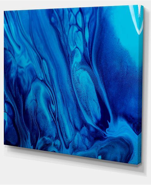 Designart Dark Blue Abstract Acrylic Paint Mix Abstract Art On Canvas 20 X 12