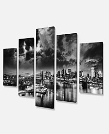 "Designart Amazing Night In New York City Cityscape Canvas Print - 60"" X 32"" - 5 Panels"