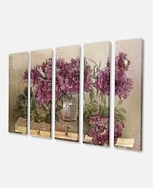 "Designart Bouquet Of Pink Peonies Floral Art Canvas Print - 60"" X 28"" - 5 Panels"