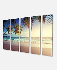 "Designart Typical Sunset On Seychelles Beach Extra Large Seascape Art Canvas - 60"" X 28"" - 5 Panels"