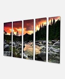 "Designart Rocky Mountain River At Sunset Extra Large Wall Art Landscape - 60"" X 28"" - 5 Panels"