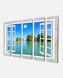 """Designart Open Window To Ocean Islets Oversized Landscape Wall Art Print - 60"""" X 28"""" - 5 Panels"""