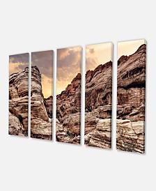 "Designart Scenic Red Rock Canyon In Nevada Canvas Art Print - 60"" X 28"" - 5 Panels"
