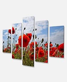 "Designart Bright Red Poppy Flowers Photo Flower Art On Canvas - 60"" X 32"" - 5 Panels"