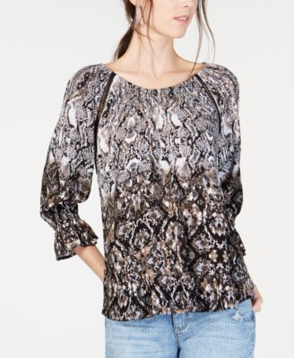 a322dd263 INC International Concepts I.N.C. Snake-Print Peasant Top, Created for  Macy's & Reviews - Tops - Women - Macy's