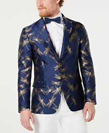 Tallia Men's Slim-Fit Navy/Gold Dragonfly Jacquard Dinner Jacket