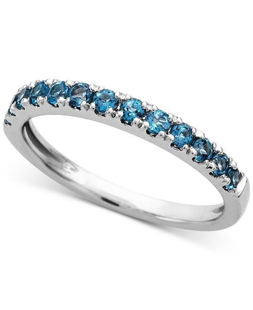Macy's London Blue Topaz (1/2 ct. t.w.) Ring in 14k White Gold