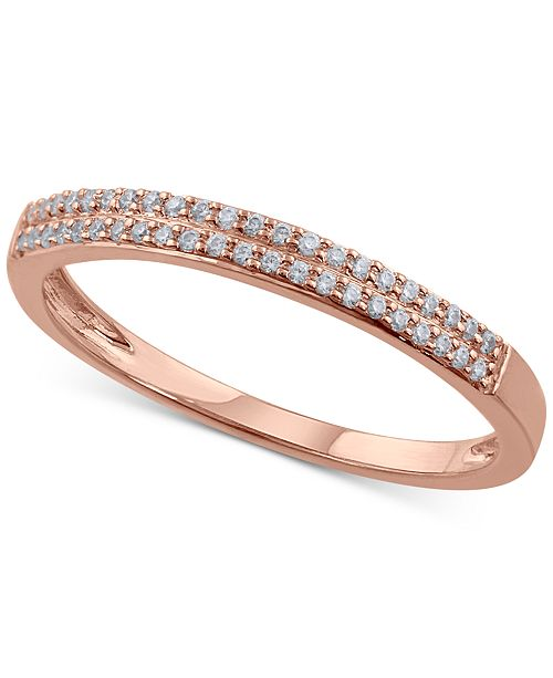 Macy's Diamond Double Row Band (1/6 ct. t.w.) in 14k Rose Gold