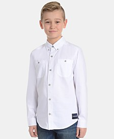 Calvin Klein Big Boys Herringbone Cotton Shirt