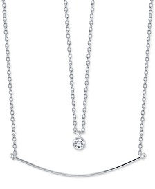 "Cubic Zirconia Pendant & Curved Bar Layered Necklace in Sterling Silver, 16"" + 2"" extender"