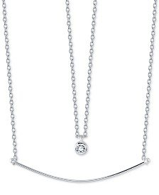 "Unwritten Cubic Zirconia Pendant & Curved Bar Layered Necklace in Sterling Silver, 16"" + 2"" extender"