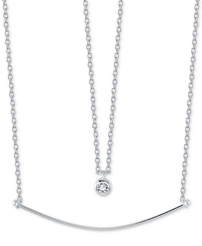 """Unwritten - Cubic Zirconia Pendant & Curved Bar Layered Necklace, 16"""" + 2"""" extender"""