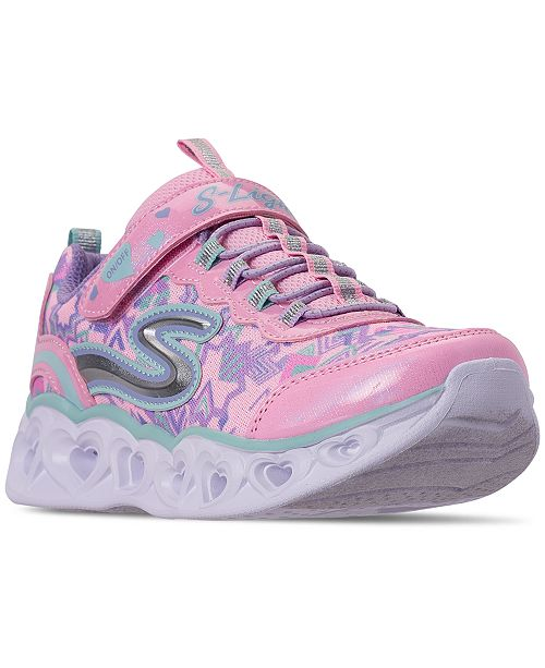 Little Girls' S Lights: Heart Lights Slip On Casual Sneakers from Finish Line