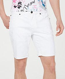 INC International Concepts Men's White Cuffed Denim Shorts