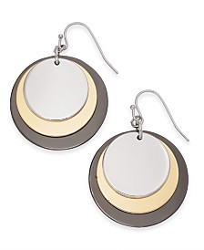 Alfani Tri-Tone Disc Drop Earrings, Created for Macy's