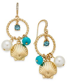 Charter Club Gold-Tone Crystal and Shell Drop Earrings, Created for Macy's