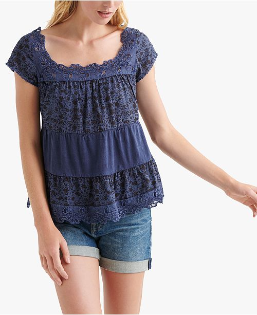 Lucky Brand Cotton Printed Crochet-Trim Top