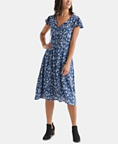 8993a1caae0 Lucky Brand Olivia Floral-Print Shirred Dress