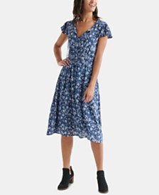 Lucky Brand Olivia Floral-Print Shirred Dress