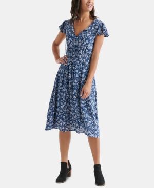Lucky Brand Dresses OLIVIA FLORAL-PRINT SHIRRED DRESS