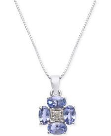 """Tanzanite (1 ct. t.w.) & Diamond Accent 18"""" Pendant Necklace in 14k White Gold"""