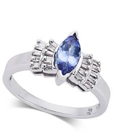 Tanzanite (5/8 ct. t.w.) & Diamond (1/5 ct. t.w.) Ring in 14k White Gold
