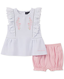 Calvin Klein Baby Girls 2-Pc. Textured Top & Bubble Shorts Set