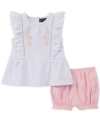 Calvin Klein Baby Girls 2-Pc. Textured Top & Bubble Shorts Set