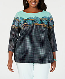 Charter Club Plus Size Printed Top, Created for Macy's