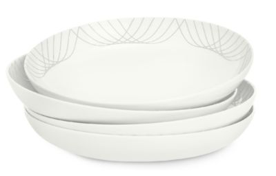 Black Line Swoop Decal Dinner Bowl Set/4, Created for Macy's