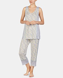 Ellen Tracy Paisley-Print Knit Tank Top and Capri Pajama Pants Set