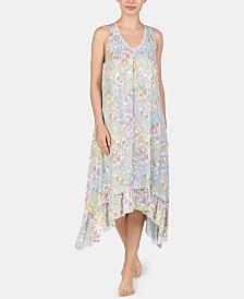 Ellen Tracy Paisley-Print Knit Midi Nightgown