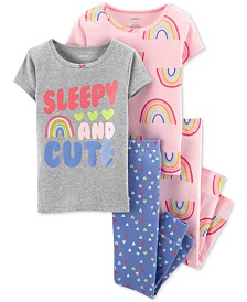Carter's Baby Girls 4-Pc. Rainbow Cotton Pajamas Set