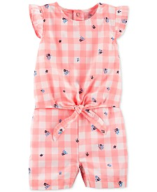 Carter's Baby Girls Gingham-Print Cotton Romper