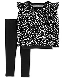 Carter's Baby Baby Girls 2-Pc. Cheetah French Terry Top & Leggings Set