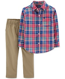 Carter's Baby Boys 2-Pc. Plaid Cotton Shirt & Canvas Pants Set