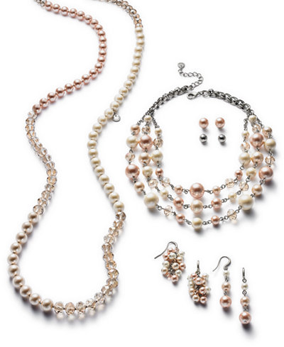 Charter Club Silver-Tone Bead & Colored Imitation Pearl Jewelry Separates, Created for Macy's