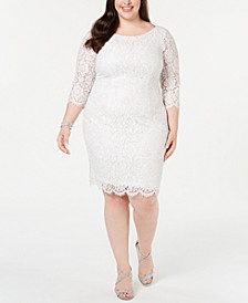 Plus Size Metallic Lace Sheath Dress