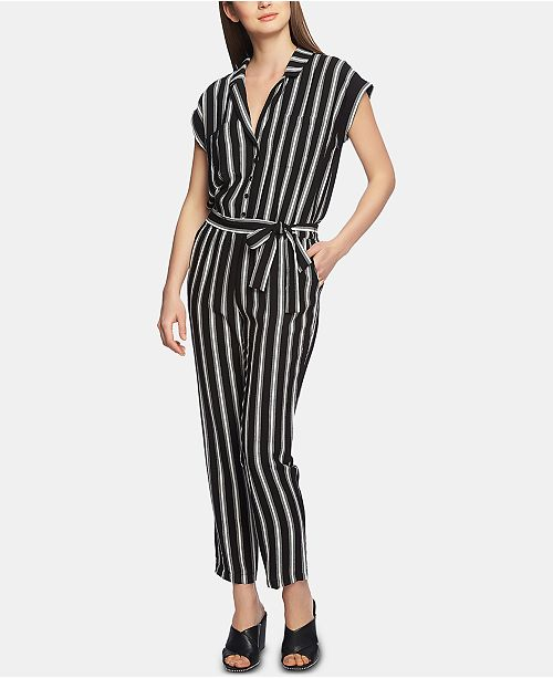 1.STATE 1. STATE Striped Button-Front Jumpsuit