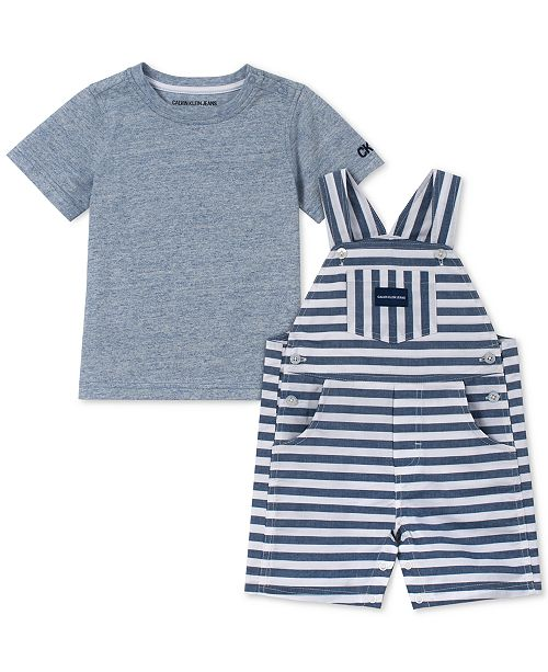 6689dd7cf Calvin Klein Baby Boys 2-Pc. T-Shirt & Striped Shortall Set ...