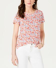 Lucky Brand Floral-Print Short-Sleeve T-Shirt