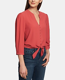 1.STATE Split-Neck Tie-Hem Blouse