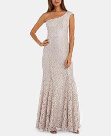 R & M Richards Petite One-Shoulder Lace Gown