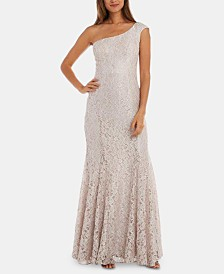 R & M Richards Petite One-Shoulder Lace Gown