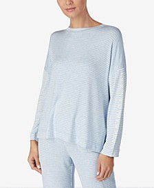 Print & Logo Long-Sleeve Knit Pajama Top