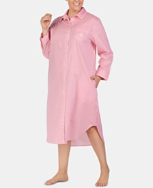 Lauren Ralph Lauren Plus-Size Print & Logo Woven Cotton Long Ballet Sleepshirt